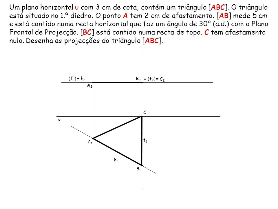 Um plano horizontal υ com 3 cm de cota, contém um triângulo [ABC]